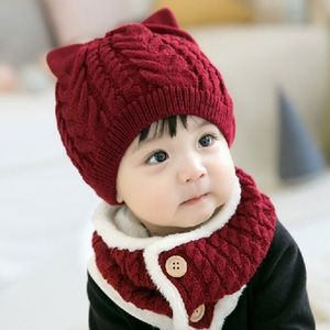 Baby/Toddler Burgundy Red Hat with Ears Ring Scarf